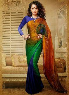 Kangana ranaut silk printed multicolour designer saree