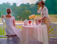 Watching for Swallows by Dennis Perrin Sister Pictures, Impressionist Artists, Tea Art, Pictures To Paint, Painting Pictures, Portrait Art, Beautiful Paintings, Figure Painting, American Artists