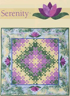 Blooming nine patch center with lotus applique border, Helen Frost & Catherine Skow