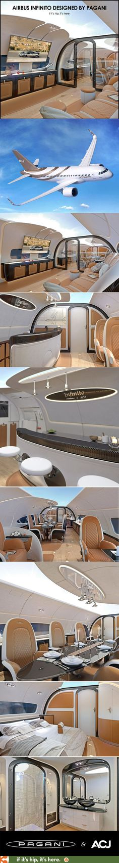 """Airbus and Pagani team up to create the luxurious Infinito Jet whose interior """"sky ceiling"""" projects a live image the exterior on the inside ceiling."""