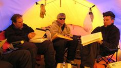 Photo: Geology team members Brian McCullough, Mike Cheadle, and Jeff Gee go over notes in their field camp tent near Dufek Massif in the Pensacola Mountains, Antarctica. Photo courtesy of Bill Meurer, National Science Foundation. Penguins And Polar Bears, National Science Foundation, Antarctica, Tent Camping, Geology, Snow Forts, Learning, Kids, Notes