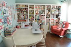 Camille Roskelley's sewing space....love it!