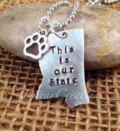 Mississippi Hand Stamped Necklace - Go dawgs, Mississippi State, Hail State,  my state