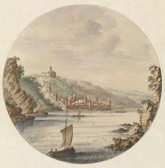 Jan van Call (I) | Gezicht op de stad Bacharach, Jan van Call (I), Johan Teyler, 1658 - 1712 | Gezicht op de stad Bacharach aan de Rijn. Op de heuvel de burcht Stahleck. Op de voorgrond een zeilschip.