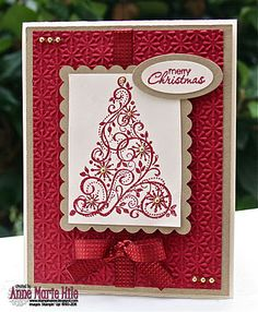 handmade Christmas card from Stampin' Anne: Paper Players Color Challenge . ivory, gold and deep red . luv the ribbon treatment . Homemade Christmas Cards, Christmas Cards To Make, Christmas Paper, Xmas Cards, Homemade Cards, Handmade Christmas, Holiday Cards, Merry Christmas, Cards Diy