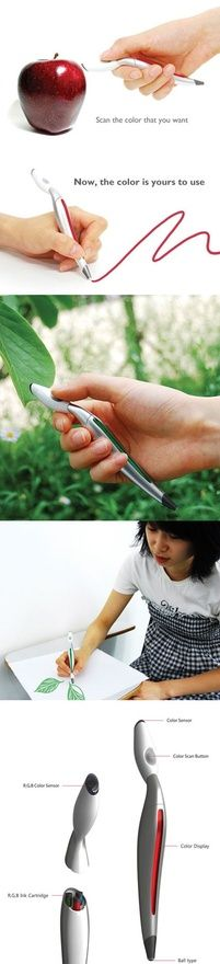 *high tech pen. Scan the color you want to use then the pen will draw with that color