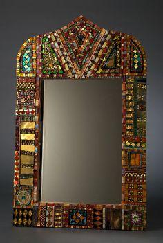 Mirror Mosaic American Mistress of Millefiori: Laurel Skye Mirror Mosaic, Mosaic Art, Mosaic Glass, Mosaic Tiles, Glass Art, Mosaics, Stained Glass, Sea Glass, Mosaic Crafts