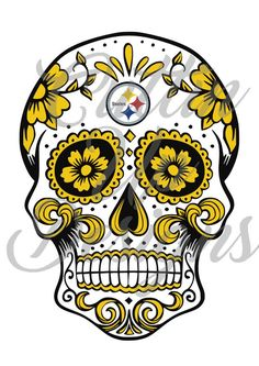 Pittsburgh Steelers Sugar Skull Day of the Dead SVG File for Cricut or Cameo (Designer Edition) Easy cut and easy layer Football by CuttinUpGifts on Etsy