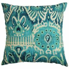 "Cotton throw pillow with a tribal ikat motif and down-feather insert. Made in the USA.    Product: PillowConstruction Material: Cotton cover and down-feather fillColor: PoolFeatures:  Hidden zipper closureMade in the USAInsert included Dimensions: 18"" x 18"""