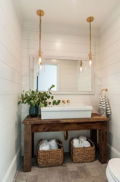 Powder room featuring a salvaged wood console table upcycled into a washstand fitted with a large ve&; Powder room featuring a salvaged wood console table upcycled into a washstand fitted with a large ve&; C B cbsugarandspice […] room storage combo Home Design, Interior Design, Design Ideas, Luxury Interior, Interior Ideas, Design Inspiration, Coastal Farmhouse, Modern Coastal, Farmhouse Vanity
