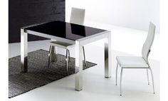 Mesa de cristal negro y acero inoxidable extensible 130x80x75