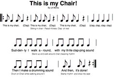 Syncopation/Play song Dawn Jones: This is my Chair by Uli Mortiz is a fun activity I got from the Orff Conference in Vancouver B. It's a lot of fun! Orff Activities, Music For Kids, Fun Music, Music Games, Singing Games, Elementary Music Lessons, Elementary Education, Middle School Music, Music Lesson Plans