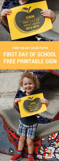 Free Personalized First Day of School printable sign. Just download, type to personalize, and print on any color paper you wish!