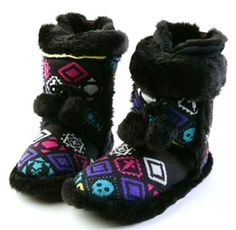 Iron Fist Shoes - Yakidi Yak Indoor Boots or Slippers with Pom Pom Ties & Rubber Soles