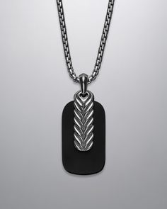 BLK ONYX & CHEVRON TAG NECK by David Yurman