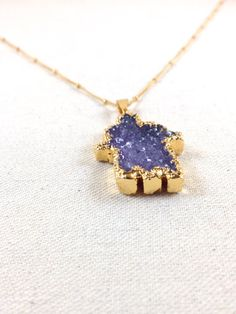 Plum Druzy Hamsa Necklace • 14K gold filled • Natural sparkly purple crystal mineral stone pendant • Satellite or cable chain option available