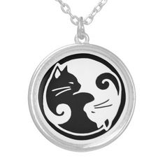 Asian-inspired design features two ying yang cats on this beautiful necklace!.