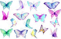 Watercolor Clip Art Blue Butterflies by Corner Croft on Creative Market