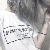 Wish   Summer Shirts Women T-Shirt Casual White O Neck Tshirt For Lady Japanese Letters Printed Plus Size Tees