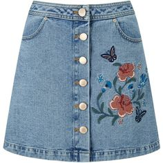 Miss Selfridge Floral Embroidered Denim Skirt ($45) ❤ liked on Polyvore featuring skirts, clearance, denim, knee length denim pencil skirt, blue pencil skirt, knee length denim skirt, denim skirt and knee length pencil skirt