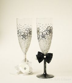 Wedding Glasses HAND PAINTED Wedding Flutes by NevenaArtGlass