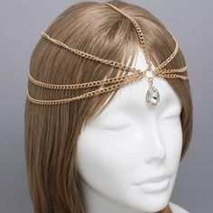Gold Tear Drop Crystal Head Chain Headpiece, Grecian headchain, House Of Harlow Style Gypsy head jewelry Haadchain on Etsy, $15.95
