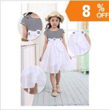 http://www.aliexpress.com/store/621900  Retail girls` summer children dress ball princess dress 2013 new hot girls 3--12 years Round neck striped pleated skirt