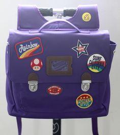 Custom patch work of purple school bag for kids TYPE A #01