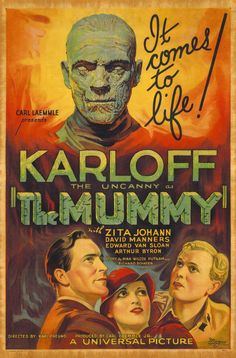 Poster from the film the Mummy Classic Monster Movies, Classic Horror Movies, Classic Monsters, Classic Films, Scary Movies, Old Movies, Vintage Movies, Retro Horror, Vintage Horror