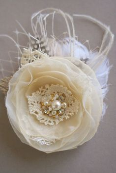 Bridal Hair Flower Wedding Hairpiece Burlap Bridal Fascinator Flower Hair Clip by BelleBlooms on Etsy