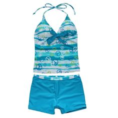 iEFiEL Big Girls Youth Peace Signs Heart Print 2 Piece Tankini Swimwear Swimsuit Sea Blue Size 12. Set Include: 1pc top + 1pc pants. Girl's tankini set, changing color designed with cute patterns. A bow tie on halter top chest, with removable bra pads for a great fit. Elastic bottoms, lined at the front to improve safety and comfort. Perfect for summer swimming, surfing, beach holidays!.