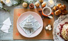 Tischdekoration in Orange und Rosa für Weihnachten und den Wintertisch Lounge, Winter, Decor, Pink, Dinner Napkins, Cold, Xmas Trees, Christmas, Dekoration