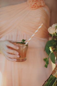Peach Striped Drink Straw | photography by http://acarrollphotography.com | floral design by http://www.twigandberrieseventdesign.com/