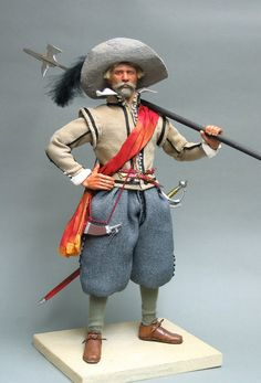 Dutch Sergeant 1601 Typical of soldiers of the European wars that dragged on between 1570-1648, this figure represents a man from the Dutch Army that defended Ostend against the Spanish Army of Flanders during the Great Siege between 1601 and 1604. Musketeers were the commonest kind of Infantry on both sides ( see the Musketeer below ) , and they were commanded by men like this : a Sergeant.