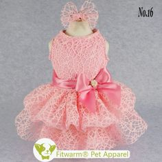 Fitwarm Luxury Pink Lace Dog Tutu Dress Pet Wedding Clothes Shirts Matching Hair Clip, Pink ** See this great image : dog clothes Dog Wedding Dress, Dog Tutu, Dog Clothes Patterns, Sewing Patterns, Pink Dog, Pet Clothes, Dog Clothing, Dog Dresses, Dress With Bow