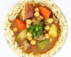 Pork and Chickpea Stew - Braised pork, chickpeas, carrots, onions, lemon, rosemary, new potatoes, brown rice