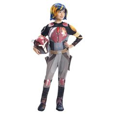 Star Wars Rebels Sabine Deluxe Girls' Costume Small (4-6), Girl's, Size: S(4-6), Silver