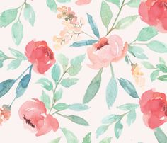 Large Watercolor Floral on Pink fabric by taylor_bates on Spoonflower - custom fabric
