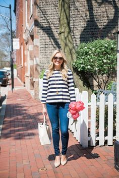 Bucket Bag + Striped Shirt   bows & sequins