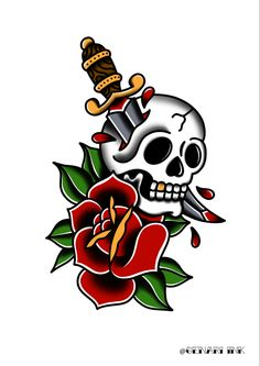 Old School Tattoos, Old School Ink, Old School Tattoo Designs, Tattoo Designs Men, Old Scool, Traditional Tattoo Design, Tatuagem Old School, American Traditional, Skull Art