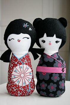 "kokeshi dolls. pattern from Melly and Me book, ""kaleidoscope"". 2010"