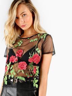 59703af75dce7 SHEIN offers Rose Patch Lettuce Hem Glitter Mesh Top   more to fit your  fashionable needs.