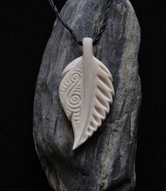New Zealand Fern Leaf -  Hand carved from bone