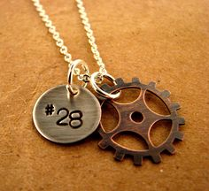 SALE Motocross Sprocket Handstamped Necklace by YUMYUMBUBBLEGUM