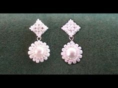Beading4perfecttionists: Victorian / Wedding earrings. Studs based on RAW beading tutorial - YouTube
