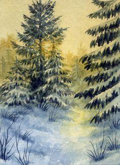 ACEO Original Miniature Watercolor Landscape Winter by Elena Mezhibovsky #Miniature