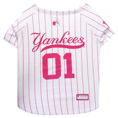 3eae0ed99c9 New York Yankees Pets First Pink Pet Baseball Jersey - Pink S
