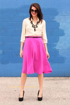 I loved this outfit so much, I had to order a bright dahlia skirt of my own, and I cannot wait for it to get here