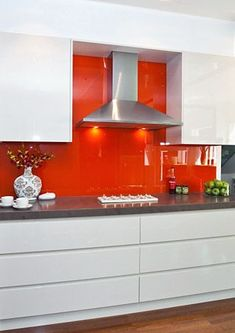 New kitchen backsplash red laundry rooms Ideas Red Kitchen Decor, Orange Kitchen, Kitchen Decor Themes, Kitchen Colors, Kitchen Interior, New Kitchen, Awesome Kitchen, Kitchen Design, Kitchen Flooring