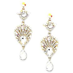 "3"" long Ab Clear Austrian Crystal Drop Earring Wedding Bridal Pageant Drag Queen in Jewelry & Watches, Fashion Jewelry, Earrings 